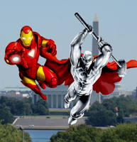 Iron Man and Steel over DC by SUPERMAN3D