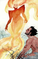 Dark Phoenix and Wolverine by kevinwada