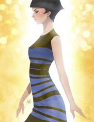 My little white  gold dress by Artgerm
