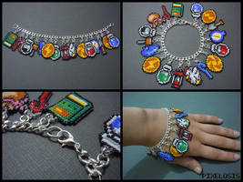 Legend of Zelda Seed Bead Charm Bracelet 2 by Pixelosis