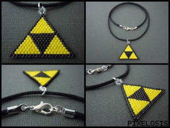 Handmade Seed Bead Triforce Necklace by Pixelosis