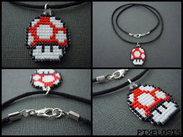 Handmade Seed Bead Red Mushroom Necklace by Pixelosis