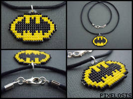 Handmade Seed Bead Batman Symbol Necklace by Pixelosis