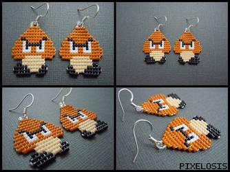 Handmade Seed Bead Goomba Earrings by Pixelosis