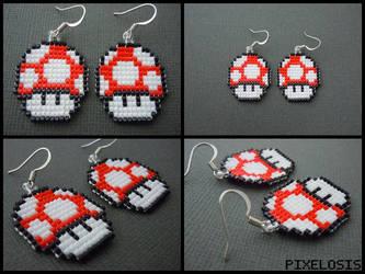 Red Mushroom Earrings by Pixelosis