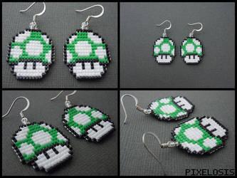Green Mushroom Earrings by Pixelosis