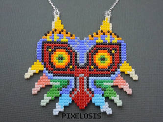 Handmade Seed Bead Majora's Mask Necklace by Pixelosis