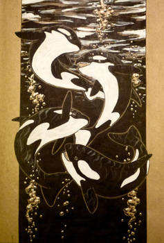 Inktober day 12: killer whales by GlauxBryonia