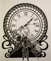 Inktober day 14: clock fairy by GlauxBryonia