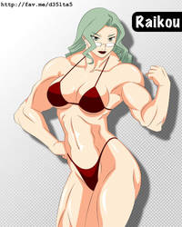 Manga Muscle Girl Raikou by elee0228