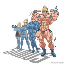 Samus Muscle Growth (Part 1: Level 1-4) by elee0228