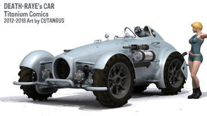 Death-Raye's Car with robotic driver by CUTANGUS