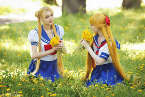Usagi and Minako:chasing after school by LoveSenshi