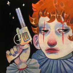 cardboard clown by deathdaydream