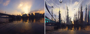 Speedpainting : Futuristic Town by Excalle