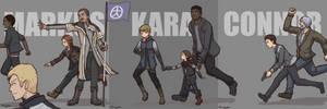 Markus, Kara and Connor by FuggyArt