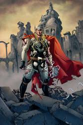 Thor in Fallen Asgard by MarkHRoberts