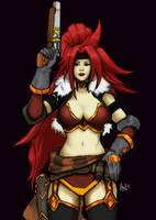 Red Monika (Battle Chasers: NightWar) by asadfarook