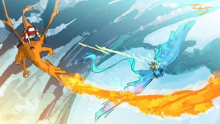 Charizard vs Articuno and Pikachu by zuntxuj