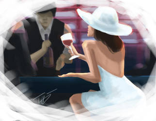 Lady in White With Wine by zuntxuj