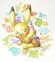 Painter Pikachu by TheSagnip