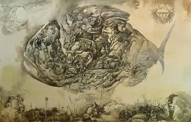 Neo-pagan fish over the sleeping city by artfactotum