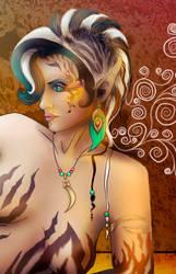 Detail from Lionhuntress by Metaintelligenz