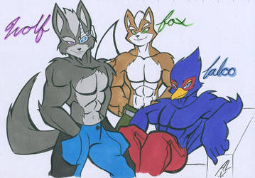 WOLF, FOX, AND FALCO by WhiteFox89