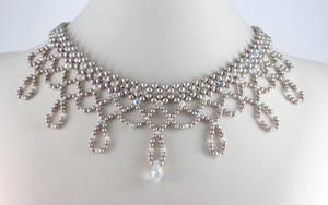 Platinum Pearl Bridal Choker by BeadfulStrings