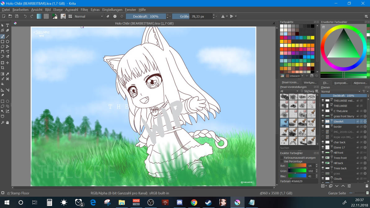 Holo Chibi WIP screenshot [Spice and Wolf FanArt] by TheLukrie