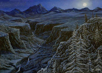 Rivendell by moonlight. by Canis-Lupess
