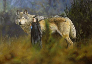 Luthien and Huan by Canis-Lupess