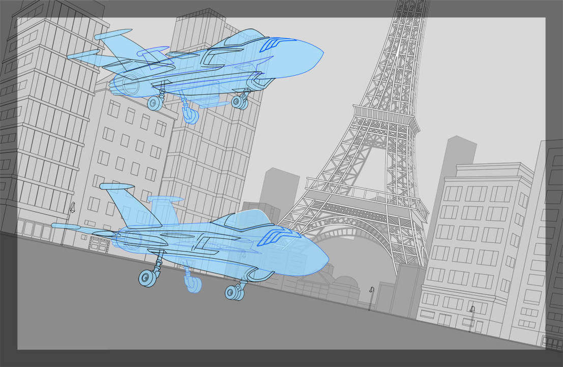 Gotham with Invisible Jet, Eiffel Tower by ultrapaul