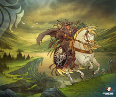Celtic wolf rider by MabaProduct