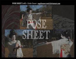 POSE SHEET 3 of 3: Geisha Gunner by themuseslibrary