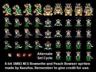 8-bit NES Bowsette + Koopa Peach by Kazufox
