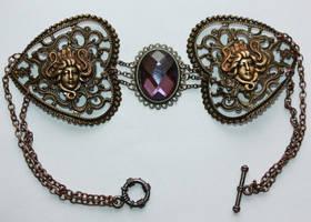 Steampunk violett stone choker by Pinkabsinthe