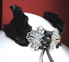 Black Vampire Neck corset by Pinkabsinthe