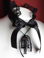 Bird cage pendant and collar by Pinkabsinthe