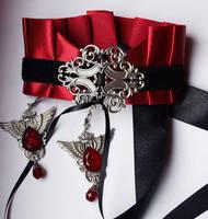 Set of vampire choker and earrings by Pinkabsinthe