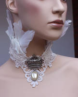 Bridal feather collar by Pinkabsinthe