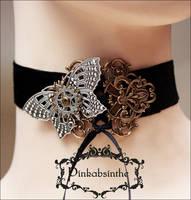 Mechanical butterfly velvet choker by Pinkabsinthe