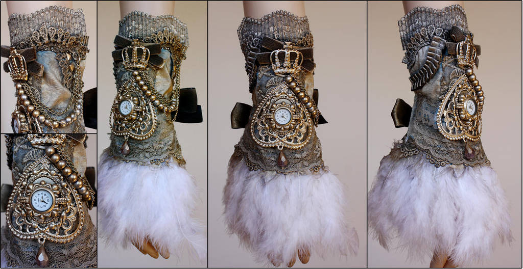 Crown feather cuff by Pinkabsinthe