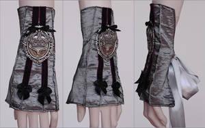 Silver burgundy crown cuff by Pinkabsinthe