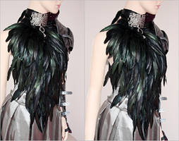 Feather dress and leather armor set I by Pinkabsinthe