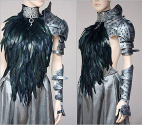 Feather dress and leather armor set II by Pinkabsinthe