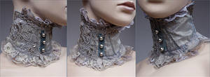 Pearl bottons neck corsage by Pinkabsinthe