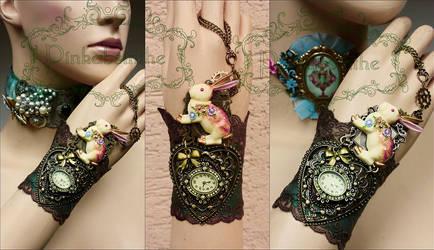 Alice's White rabbit watch cuff by Pinkabsinthe