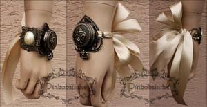 Romantic wedding locket watch cuff by Pinkabsinthe