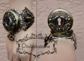 Key hole steampunk watch cuff II by Pinkabsinthe
